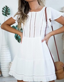 Fashion White Lace Stitching Dress