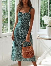 Fashion Green Printed Shoulder Strap Knotted Dress