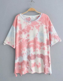 Fashion White Tie-dyed T-shirt