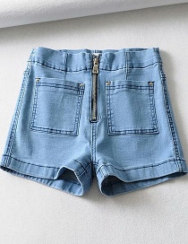 Fashion Blue Washed Zip Pocket Denim Shorts