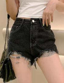 Fashion Black Washed Open Line Raw Denim Shorts