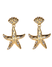 Fashion Gold Alloy Shell Starfish Earrings