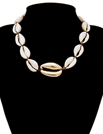 Fashion Gold Geometric Braid Adjustable Shell Necklace