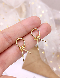 Fashion Gold Knotted Matte Metal Geometric Irregular Earrings