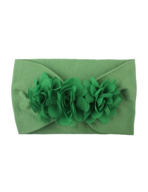 Fashion Green Chiffon Flower Nylon Baby Hair Band
