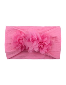 Fashion Pink Chiffon Flower Nylon Baby Hair Band