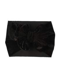 Fashion Black Gold Velvet Bow Wide Version Elastic Children's Hair Band