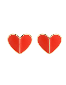 Fashion Red Drop Oil Love Heart-shaped Earrings