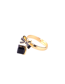 Fashion Black Drip Oil Bow Open Ring