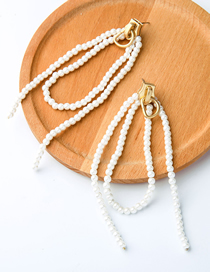 Fashion White Zippered Pearl Tassel Earrings