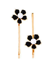 Fashion Black Drip Oil Flower Set With Pearl Hairpin
