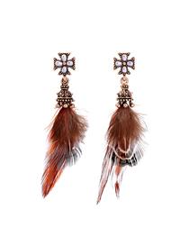 Fashion Rose Gold Diamond Asymmetrical Feather Stud Earrings