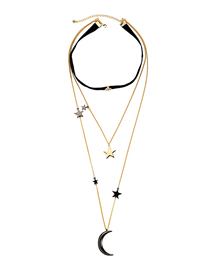 Fashion Black Multi-layered Star Moon Pendant Necklace