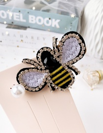 Fashion Color Pearl-studded Embroidery Bee Stud Hair Clip