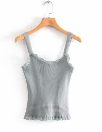 Fashion Gray Lace Solid Color Knitted Sling Top