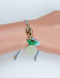 Fashion Green Shell Pineapple Rice Beads Woven Tassel Bracelet