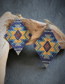 Fashion Blue Woven Rice Beads Earrings