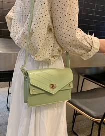 Fashion Green Pu Lock Single Shoulder Messenger Bag