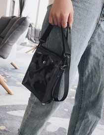Fashion Black Transparent Letter Shoulder Messenger Bag