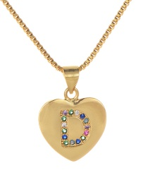 Fashion D Gold Copper Inlaid Zircon Color Letter Necklace