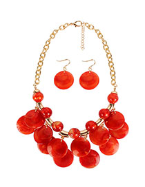Fashion Red Streaming Bead Necklace