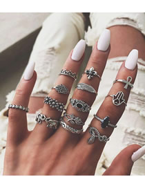 Fashion Silver Elephant Leaf Ring Set
