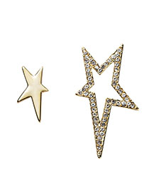 Fashion Gold Irregular Diamond-studded Five-pointed Star Pierced Earrings