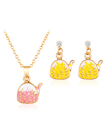 Fashion Pink + Yellow Alloy Kettle Necklace Earrings Set