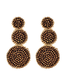 Fashion Rose Gold Alloy Beads Round Earrings