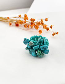Fashion Blue Rice Bead Resin Elastic Ring