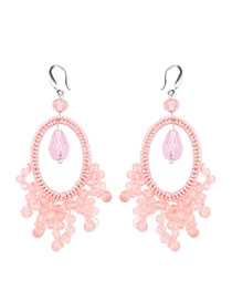 Fashion Pink Braided Geometric Fan-shaped Rice Earrings