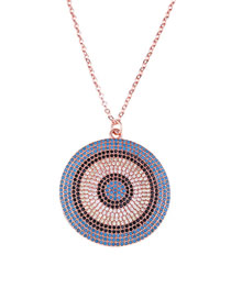 Fashion Rose Gold Gold-plated Eye Round Necklace