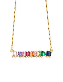 Fashion Gold Zircon Copper Plated Necklace