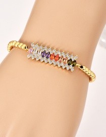 Fashion Gold Copper Inlaid Zircon Beaded Square Bracelet