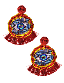 Fashion Red Rice Beads Flower Eyes Tassel Earrings