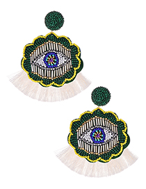 Fashion White + Green Rice Beads Flower Eyes Tassel Earrings