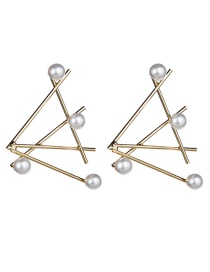 Fashion Gold Alloy Lined Pearl Earrings
