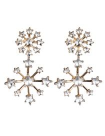 Fashion Gold Multi-layer Five-pointed Star-studded Snowflake Earrings