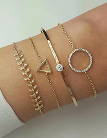 Fashion Gold Alloy Triangle Round Bracelet Four-piece