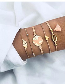 Fashion Pink + Gold Alloy Wax Rope Shell Leaf Bracelet Five-piece
