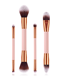 Fashion Pink Gold 4-pack Double-head Makeup Brush
