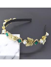Fashion Green Three-dimensional Butterfly Diamond Crystal Pearl Headband