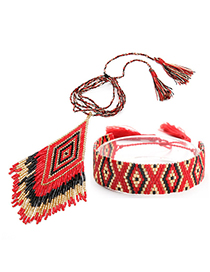 Fashion Red Suit Fringed Woven Necklace Bracelet Set