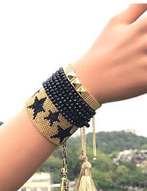 Fashion Black Suit Woven Five-pointed Star Rivet Crystal Bracelet