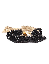 Fashion Black Woven Five-pointed Star Rivet Crystal Bracelet