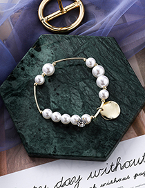 Fashion Gold Pearl Zircon Scrub Disc Bracelet
