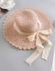 Fashion Pink Lace Bow Straw Hat