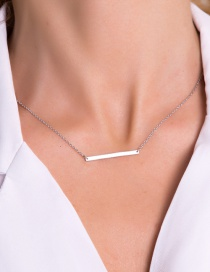 Fashion Steel Color Stainless Steel Word Pendant Short Necklace