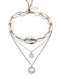 Fashion White K Shell Digital Micro-embedded Necklace