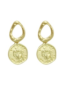 Fashion Gold Metal Coin Queen Portrait Earrings